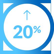 Pictogramme augmentation 20 pour cent