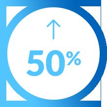 Pictogramme augmentation 50 pour cent