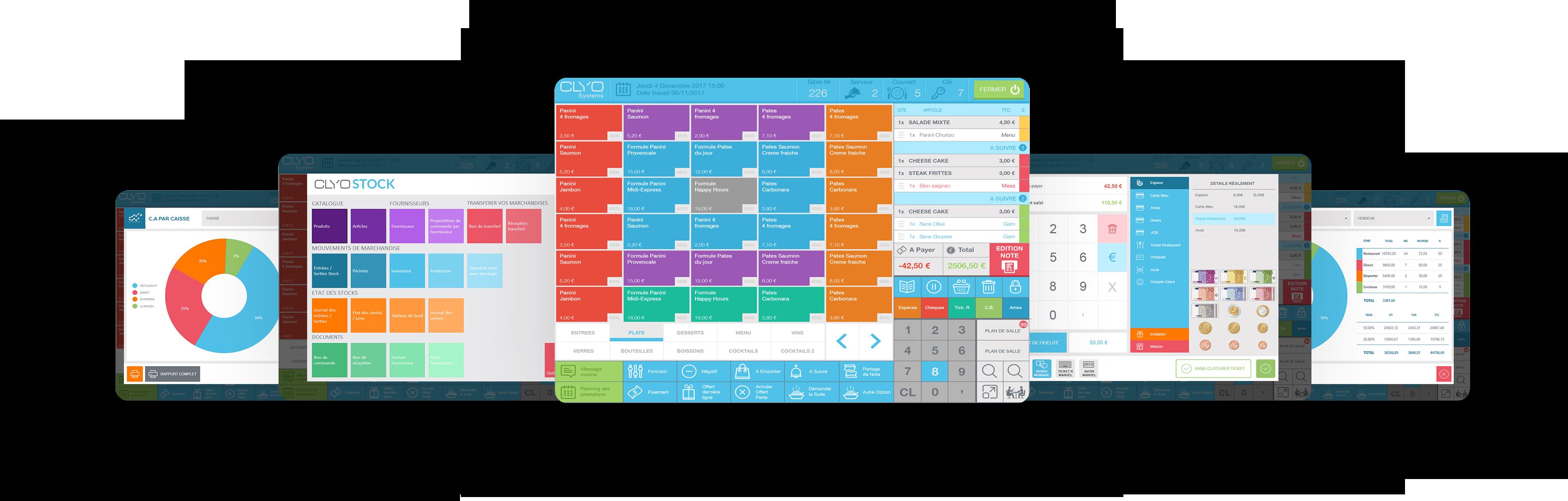 Visuels de différentes fonctions d'un logiciel de caisse Clyo Systems