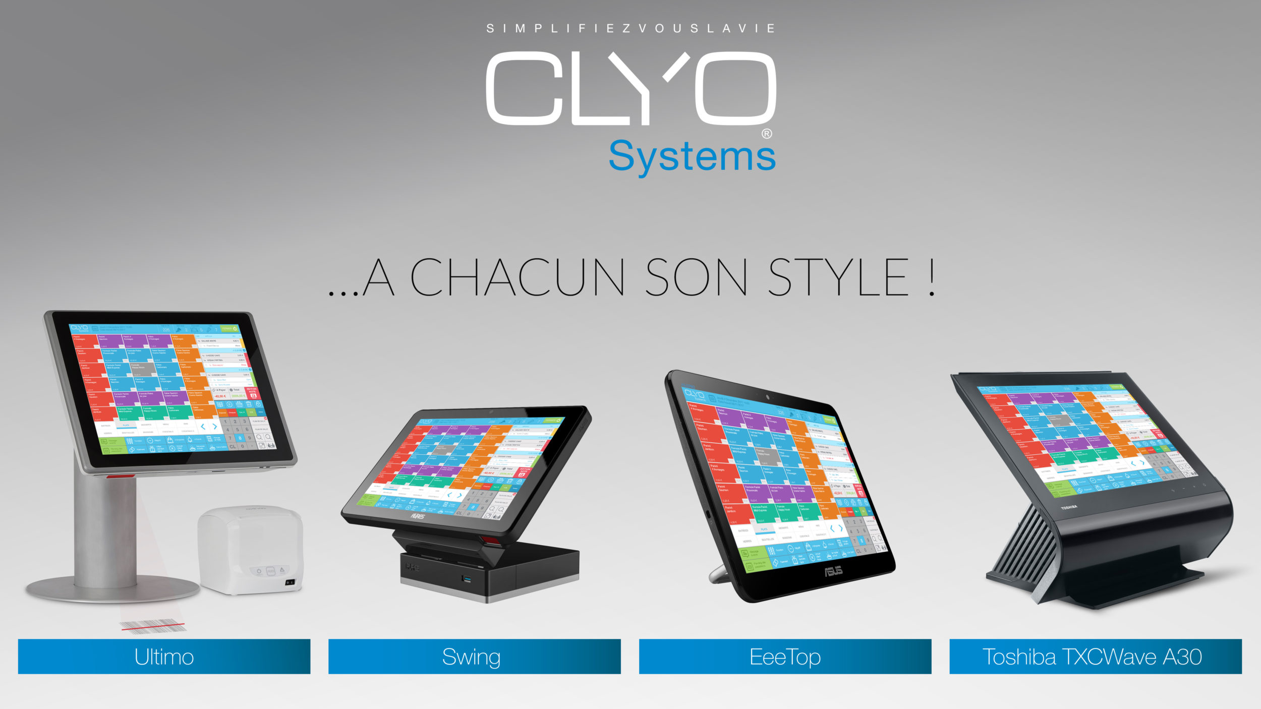 Différents modèles de caisses enregistreuses Clyo Systems