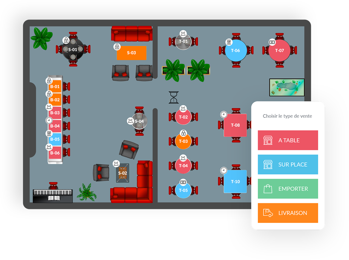 Illustration du plan de restaurant dans le logiciel Clyo Systems