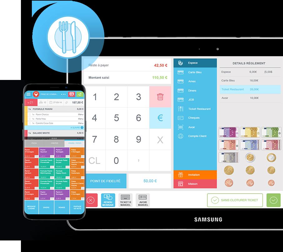 Fonction encaissement du logiciel de caisse sur smartphone et tablette